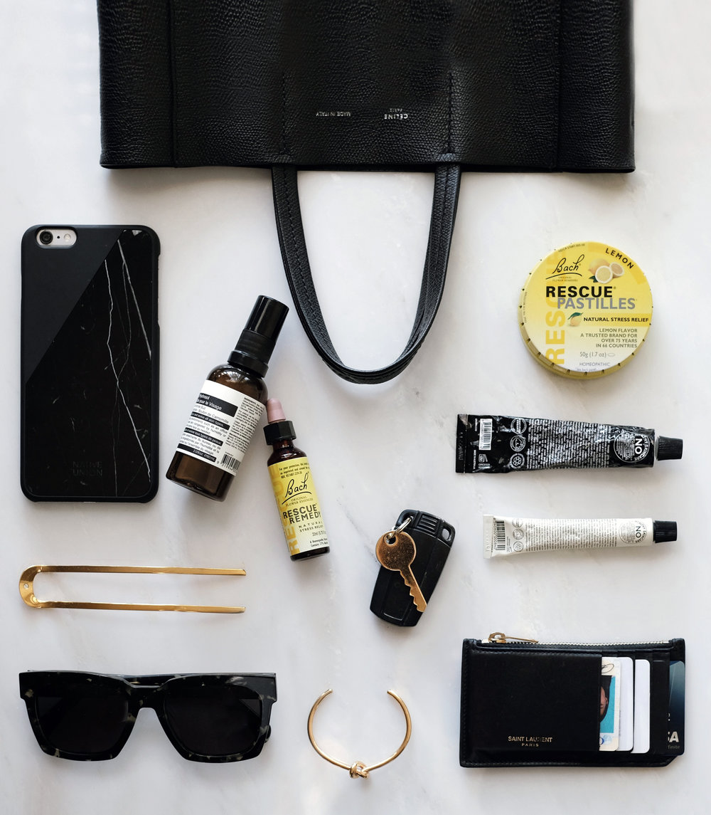 CÉLINE  Bag  and  Cuff  / BACH   Rescue Remedy Drops   / SYLVAIN LE HEN   Hair Pin 014   / AESOP   Facial Hydrosol   / GROWN ALCHEMIST   Hand Cream   and   Face Cream   / GENTLE MONSTER   Sunglasses   / BACH   Rescue Pastilles   / SAINT LAURENT   Wallet