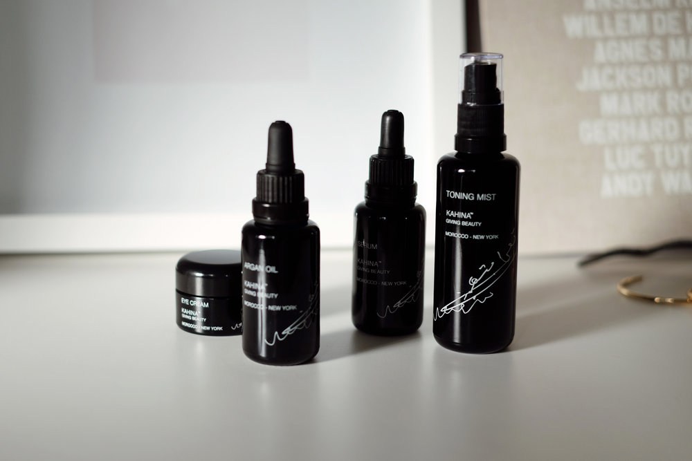 KAHINA GIVING BEAUTY    Eye Cream  ,   Argan Oil  ,   Serum   and   Toning Mist  . (More   here  )