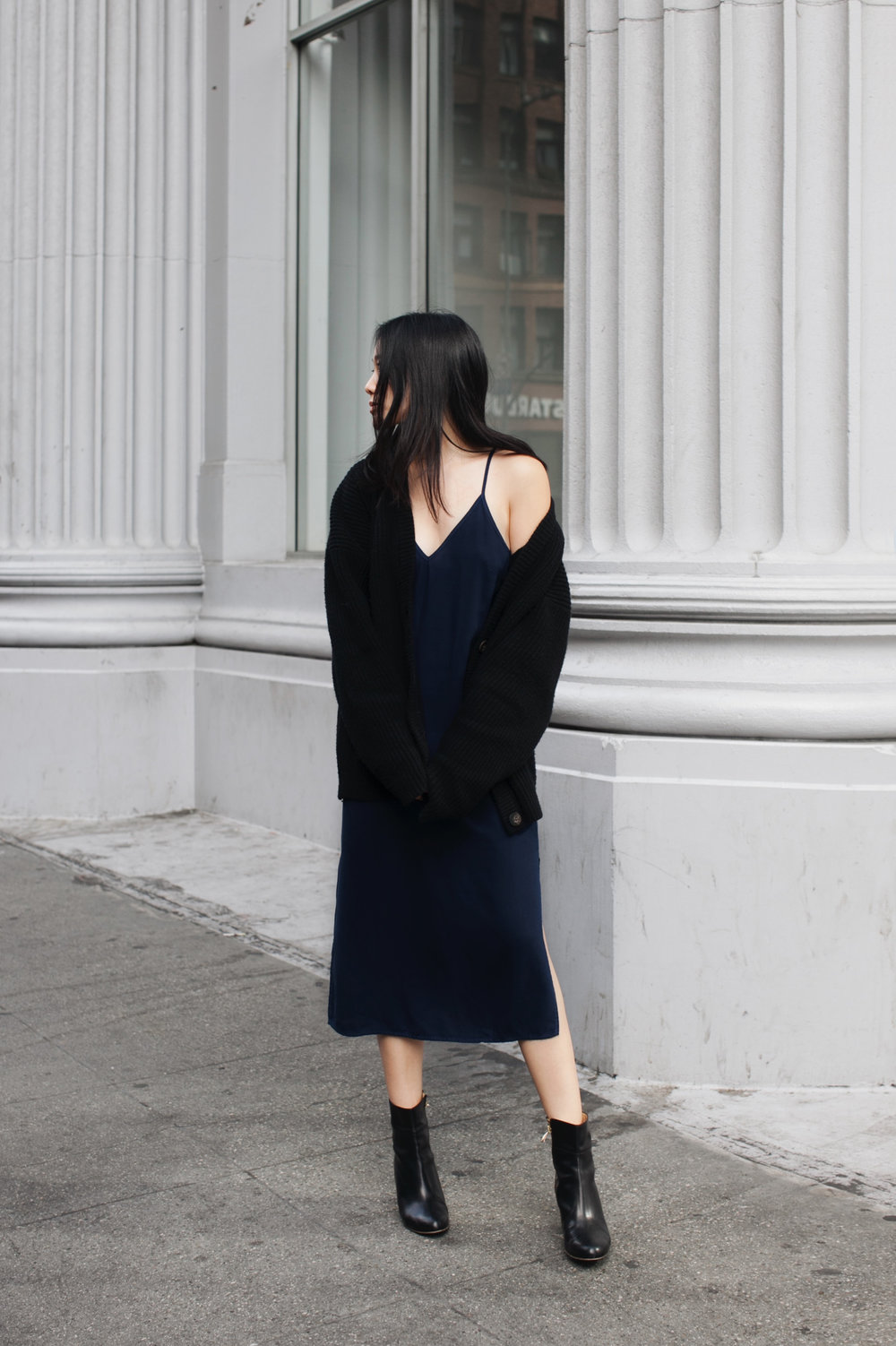 H&M TREND Sweater / SPLENDID Slip Dress / ATP ATELIER Boots