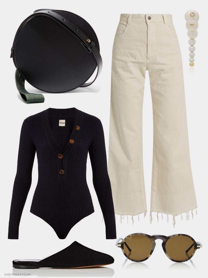MARNI Bag / RACHEL COMEY Jeans / ANISSA KERMICHE Earring / KHAITE Bodysuit / Alumnae Mules/ LOEWE Sunglasses