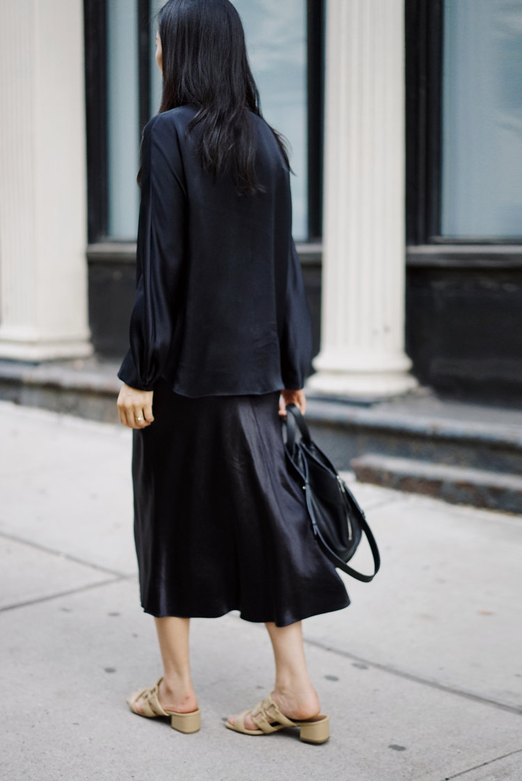 VINCE Top and Skirt / LOEWE Bag / BY FAR Shoes — See post here