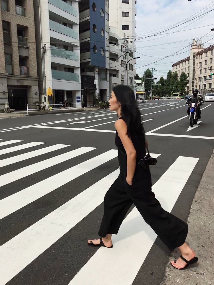 FRANKIE SHOP   Jumpsuit   / ATP ATELIER   Sandals  — Tokyo travel diary  here