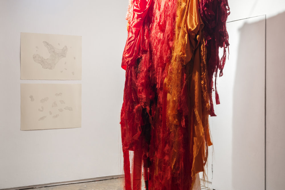 Kristin Velle-George    Escalate I & II , 2014 Graphite on paper 54 x 77 (each)   Elin Melberg    Float (red) , 2015 Torn textile, embroidery, dry pastel, wood Dimensions variable
