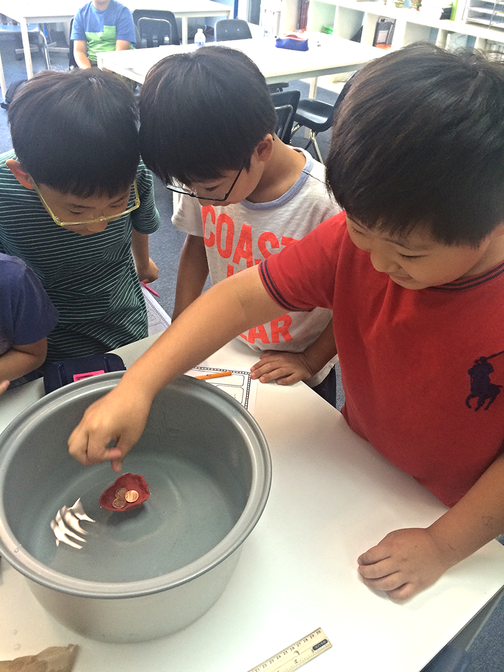 3rd Graders experimenting with Clay Boats during Summer Session 2015