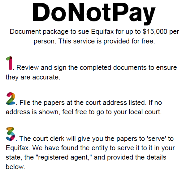 DoNotPay instructions