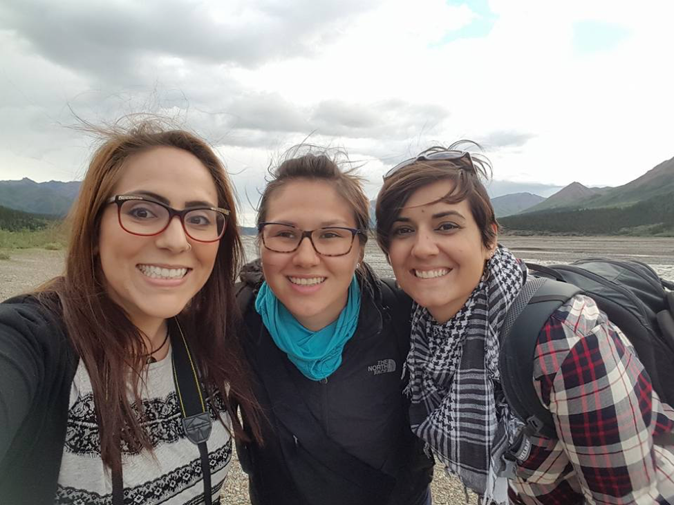 From Left to Right: Samantha, Lorena, Sarah 2016 inside Denali National Park