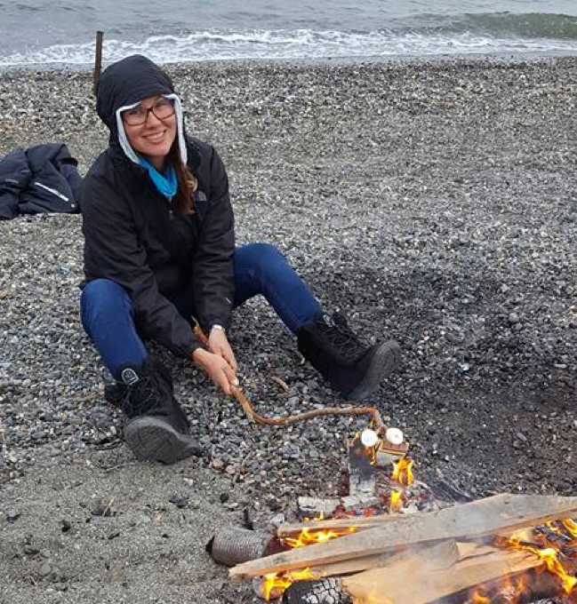 Lorena roasting a marshmallow on the beach at Kotzebue on the 4th of July at 3am – the sun never sets above the arctic circle in the summer!