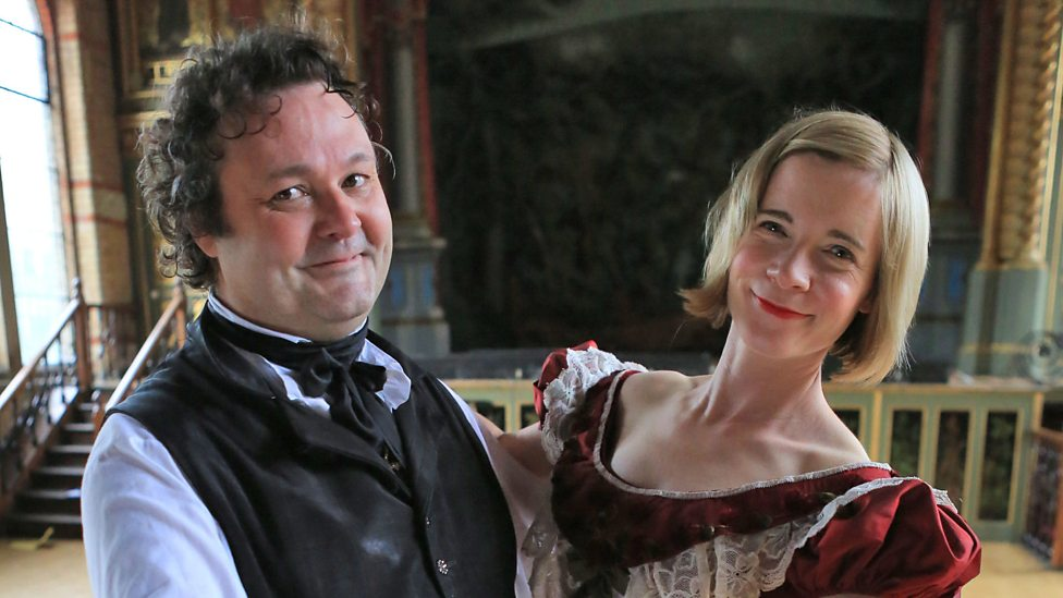 "Dance Master Stuart Marsden with Lucy Worsley in the BBC series ""Dancing Cheek to Cheek -An Intimate History of Dancing"""