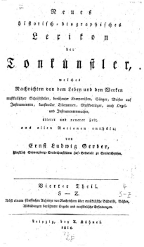 The bare bones of Tausch's biography are collected in Gerber's Neues historisch-biographisches Lexikon der Tonkünstler of 1814, in an article that Gerber claims is based on first-hand information from Tausch.