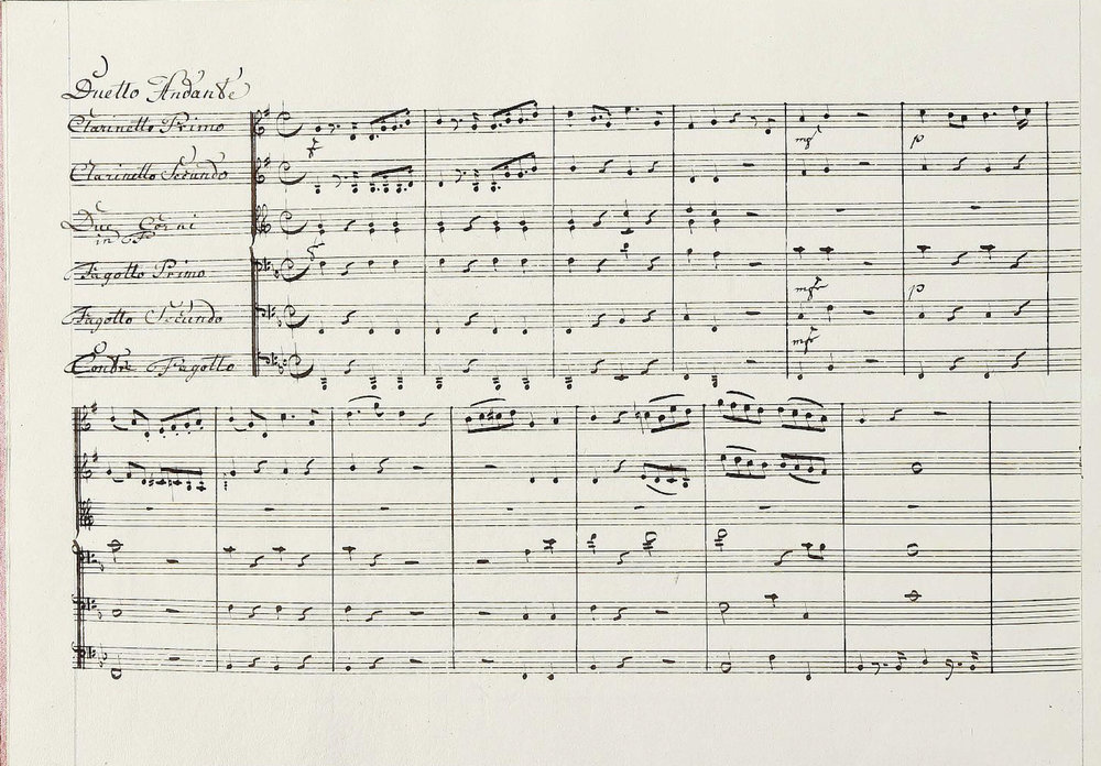 'Come ti piace' from Mozart's La Clemenza di Tito, arranged by Georg Kaspar Sartorius (1754–1809). For the first clarinet, this is an exercise in being tutti, solo and duo voice, and violin commentary all in the space of a few bars. Made available online by the Universitäts- und Landesbibliothek Darmstadt.
