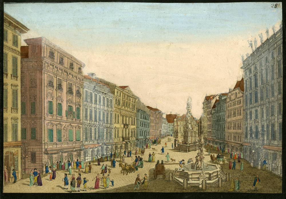 An engraving c. 1800 of the Graben, where Steiner's shop was located ( American Beethoven Society )