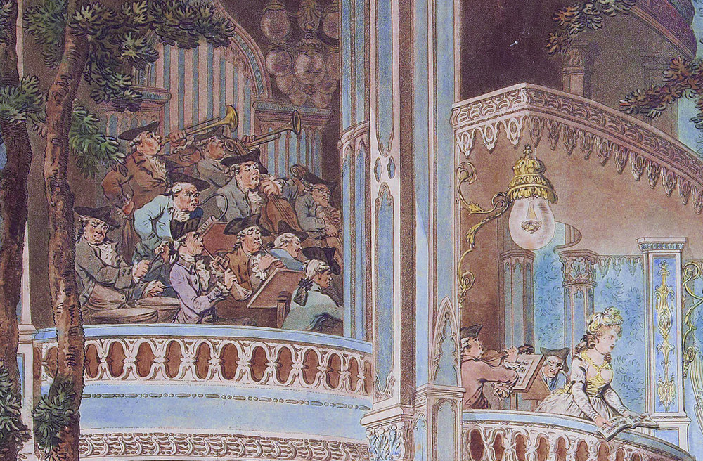 Detail from Vauxhall Gardens, engraving after Thomas Rowlandson (c. 1785). The original painting at the V&A also shows the musicians in un-matching coloured coats, though it is somewhat faded.