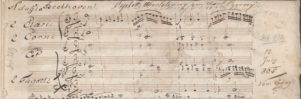 Cherny's autograph manuscript of his arrangement of op.20, with later pencilled markings. Image from the website of the Staatsbibliothek zu Berlin.