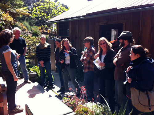 Kim Weston on Edward Weston patio chatting with Cabrillo College Students