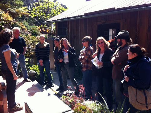 Kim Weston on Edward Weston patio chatting with Cabrillo College Students