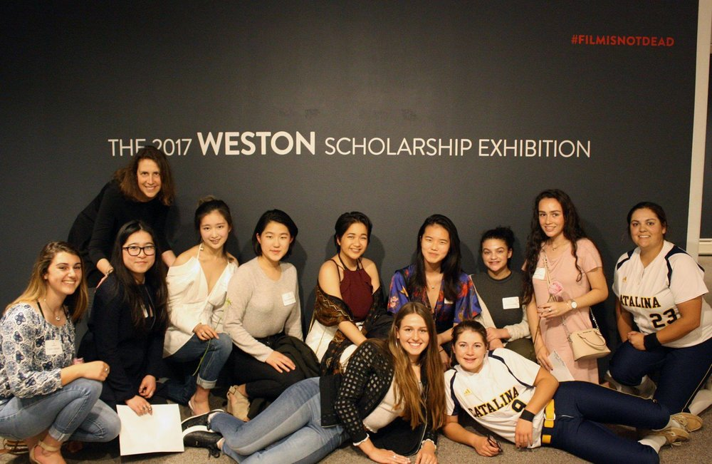 Catalina photography students with instructor, Claire Lerner, at the 2017 Weston Scholarship Exhibition at the Monterey Museum of Art. Photo: © Michelle Magdalena Maddox