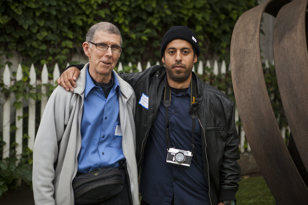John D. Crossman with Edwin Franco, the 2015 John Crossman award winner, at the Monterey Museum of Art