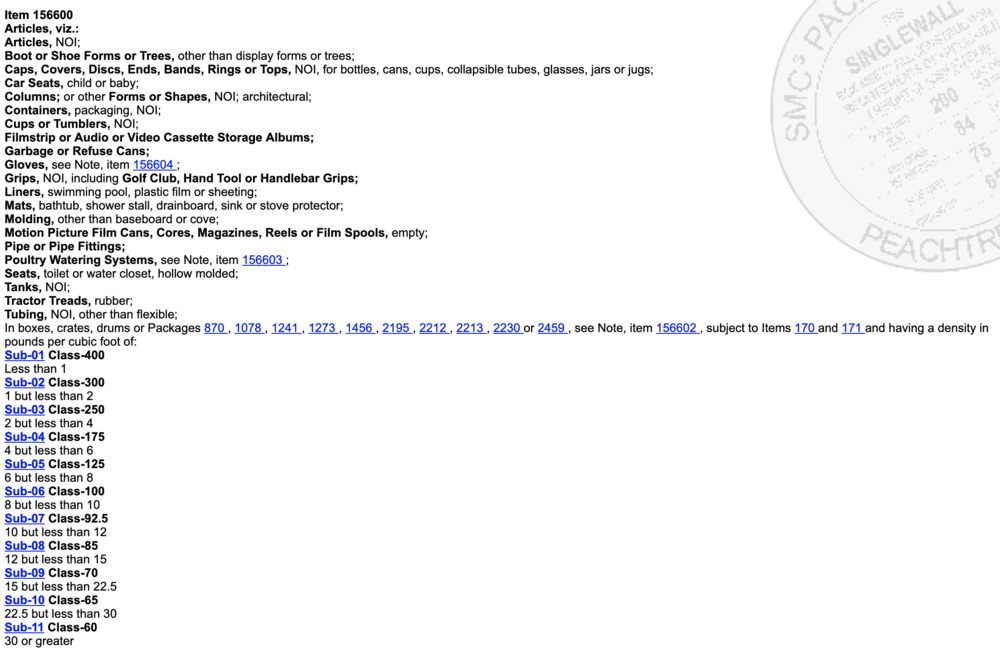Plastics, NOI (density based) item screenshot from the SMC3 online system.