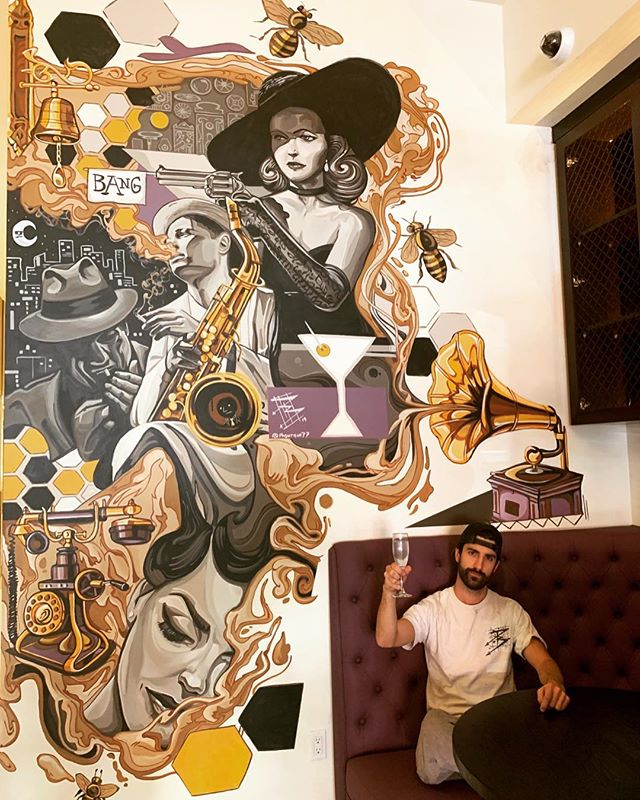 """Noir Nights"" 26'x11' Acrylic  #blackandwhitetheme #musicjazz #saxaphonist #filmnoirstyle #filmnoir #martiniglasses #vinylplayer #colorpallete #honeycomb #honeycombpattern #girlwithgun #bangbangbang"