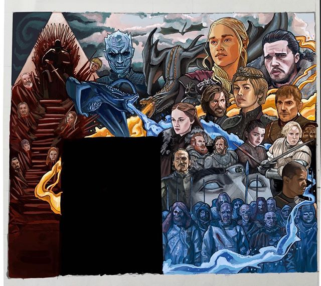 Game of Joes! Very excited to bring to you another @joecoffeela mural. Sometimes an epic piece has great timing and I've been waiting for this since I moved to LA. What better time then putting something up for the final season. I tried to incorporate everything from the dragons, the characters who are still alive, the throne, decapitated heads on stakes, the white walker army and Fire/ice flowing throughout the piece.  Let me know your feedback and if anything I forgot.  Gonna be starting this up in 2 weeks come by, grab a coffee and lets chat.  #gameofthrones #got #dragons #fireandice #thethrone #winterishere #jonsnow #daenerystargaryen #cersielannister #jaimelannister #aryastark #whitewalker #whitewalkerarmy #breanneoftarth #tyrionlannister #peterdinklage #gotseason8 #whitewalkerking #threeeyedraven #georgerrmartin
