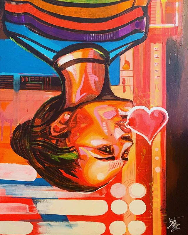 """Love can be..."" 48""x 24"" Neon and acrylic paint on canvas  Got to bring this one to life last week at a live painting event for @_fetty_af.  #neon #blacklightpainting #blacklightart #neonpainting #neonpaintings #lovecanbe #vincestaples #blowingbubblegum #girlportrait #girlportraits #livepaintingevents #losangelespainter #losangelespainting #abstractpainting"
