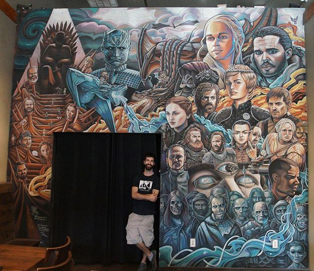 """""""Game of Joes"""" Chalk @joecoffeela An epic show needs an epic mural. Thanks for all the support and help I received throughout the course of the project. Now let's sit back, relax and witness some fuckin' mayhem 🤟🏼🤟🏼 📸 @brianhammers  #got #gameofthrones #gameofthroneshbo #gotart_ #gotart #whitewalkers #nightking #gameofthronesart #gameofthrones8 #aryastark #sansastark #jonsnow #gotdragons #fireandice"""