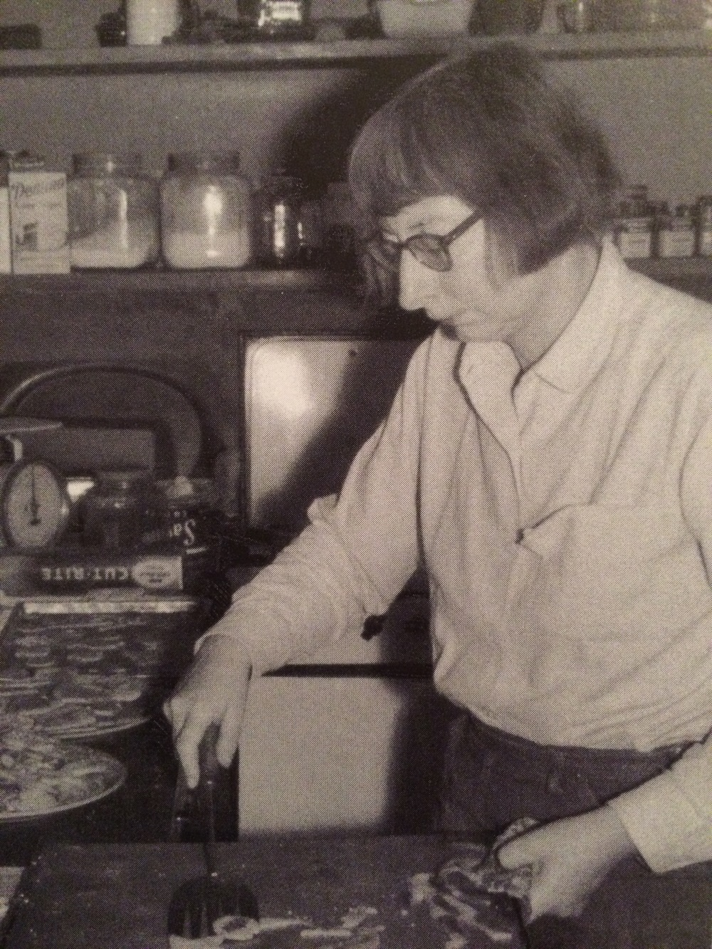 """Jane making Christmas cookies on 555 Hudson Street. """"We would go crazy every Christmas making tons of all kinds of cookies."""" -Jane Jacobs"""