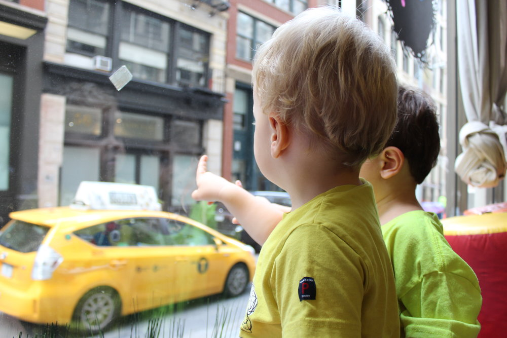 """""""There's a taxi!"""" Window watching during our gym time."""