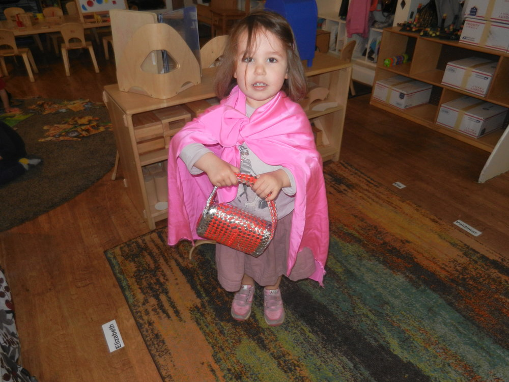 Camille had fun in dramatic play dressing up as Little Red Riding Hood. Graydon disguised himself as the Big Bad Wolf! They enjoyed reenacting the story during free play.