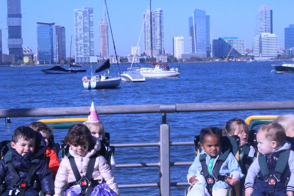 "We've taken a keen interest in transportation as of late to we took a walk to the Hudson River to check out the boats!  ""Woah!""  ""Boats!""  ""Agua!"""
