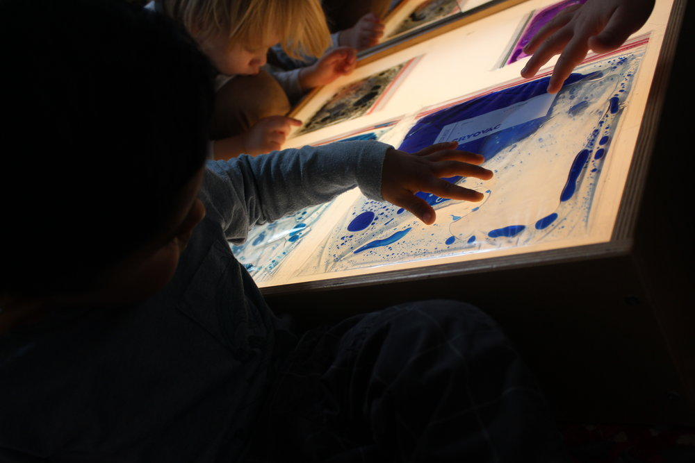 Explore - Sensory bags on the light table