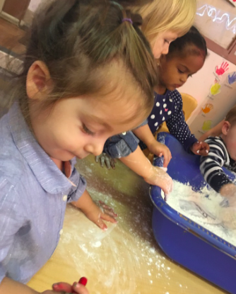 """Katerina also very much enjoyed science and exploring the corn starch but gave a very firm """"no"""" when asked if she wanted to explore the slime."""