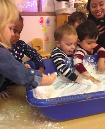 """Science - this week we explored corn starch and dish soap. The children really seemed to enjoy getting into this concoction that they created.  """"So slimy""""  """"More!""""  """"Yeahhhhh!"""""""