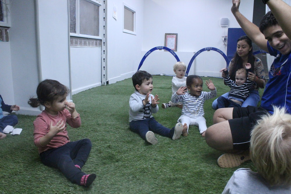 """""""I am happy to be super soccer stars!""""  Soccer this week with 2A's favorite guy, Coach JoJo (he's kind of a celebrity with our little learners)!"""
