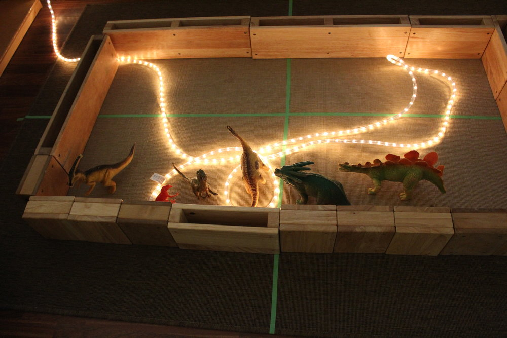 Provocation: Blocks with rope light  Will (after adding dinosaurs): It's a dinosaur jungle!