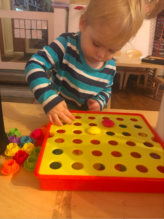 Levi loves anything to do with manipulatives and puzzles! Manipulatives also improve a child's  sense of spatial awareness. Through manipulative use , children learn how things fit (or do not) together. Concurrently, manipulatives also promote problem solving skills. Manipulatives encourage creativity!