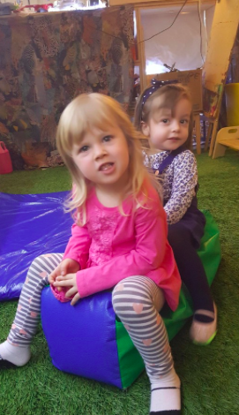 """I go on horse!""  Katerina loves playing with her friend Morgan and engaging in cooperative play with her peers. She especially love imagining dramatic play scenarios which is a key toddler play skill - dramatic play helps toddlers make connections and process the world around them while encouraging creativity!"