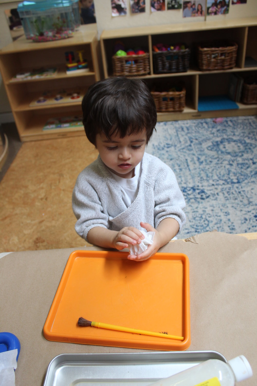 Various techniques in art promote a different sensory exploration and experience as children use materials.Adding texture to their art with paper towel and watercolor, they can create abstract textures in their painting.