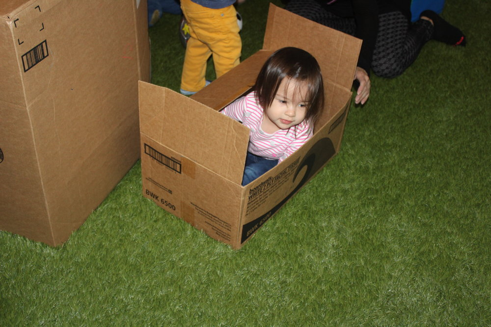 Toddlers are learning to understand their own space.  Children are constantly testing their body; they crawl in, around, over, and under things.  The first thing toddlers do when they see a cardboard box is to try to get in it.  As they explore getting into the box, they are discovering their body.  Cardboard boxes are excellent tools for spatial exploration, and understanding their space.        Cardboard boxes also promote comfort and security.   It creates an emotional need to be in a small space.  It enables the child to connect with their inner need to be bundled up or embraced.  It also provides a sensory experience.  The soothe sides of the cardboard, the sound it projects when folding or carrying the box, the natural brown color, and drawing on the box are all integral parts of the sensory play.   Their imagination and creativity evolve, as they explore and discover new ways to use the box.