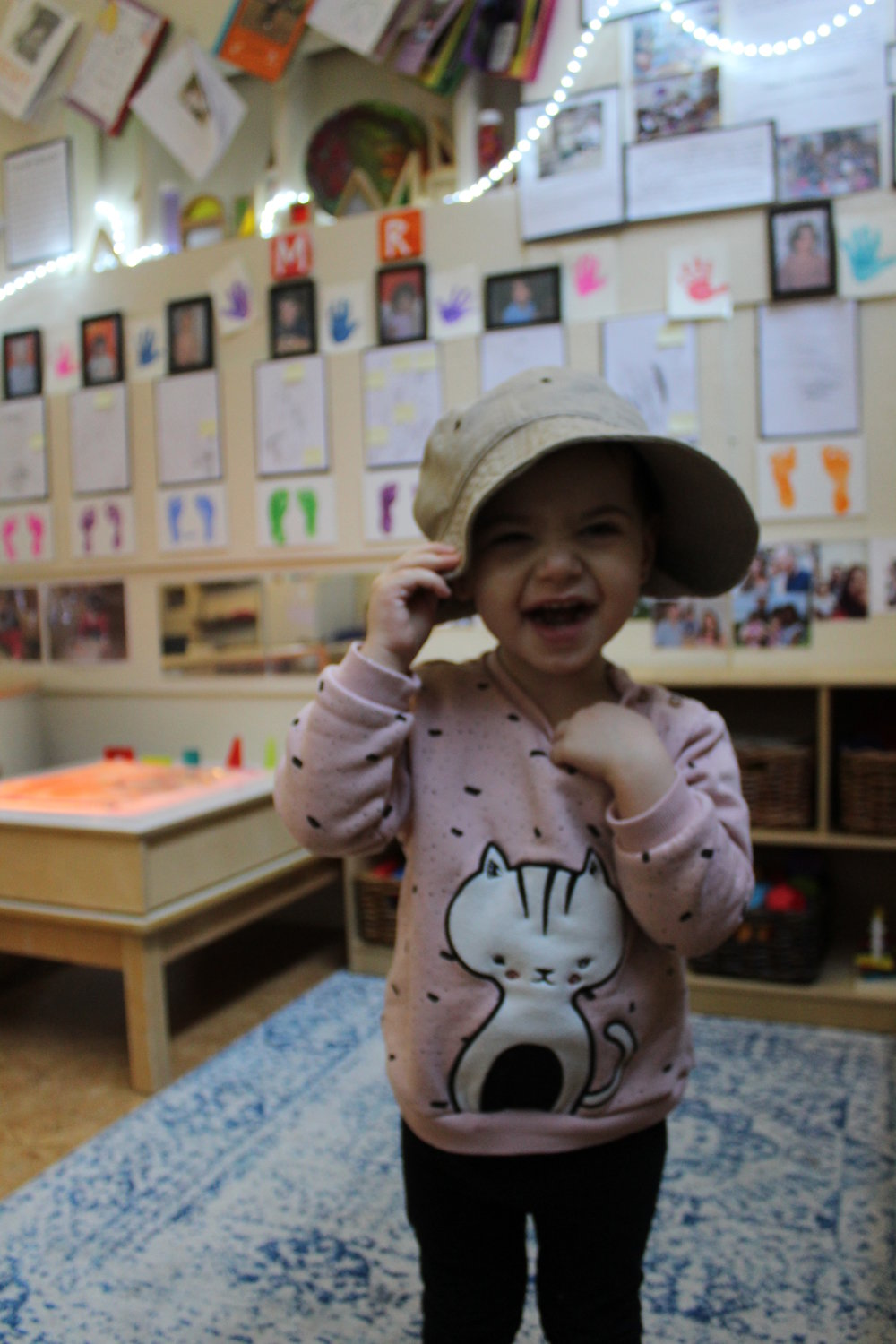 The children are excited to wear different hats and share them with their peers.  Each hat is a representation of friendship.  As they exchange hats, they learn the concept of sharing and taking turns.  Even though we implement in the classroom the importance of sharing and taking turns, it is always a good idea to use different perspective to reinforce the concept.