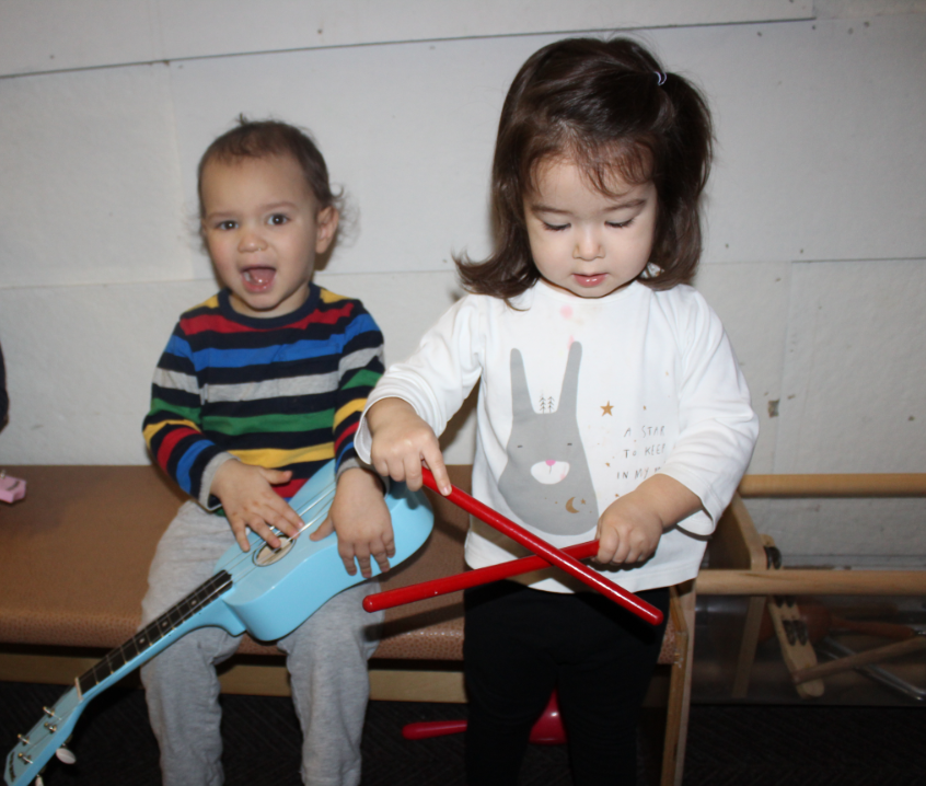 Visiting the music wall allows children to select an instrument and create their music.