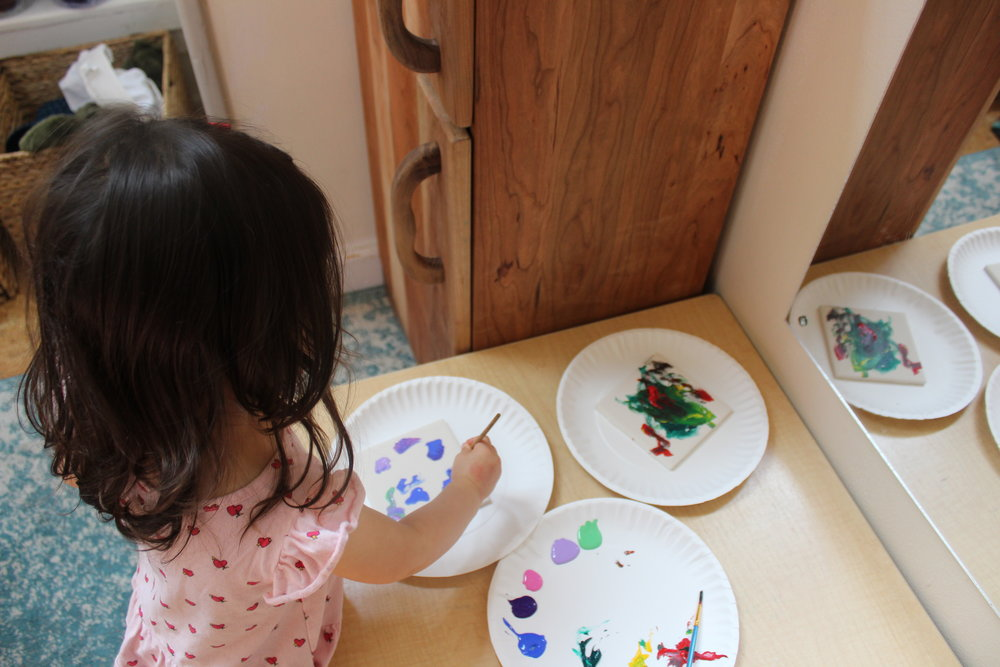 This whole week we have been preparing for our Spring Fair.  Children are working hard on creating different art pieces.  They are enjoying, exploring and discovering different techniques to create with colors.  As they paint, glue, and sculpt they are using their imagination and creativity.