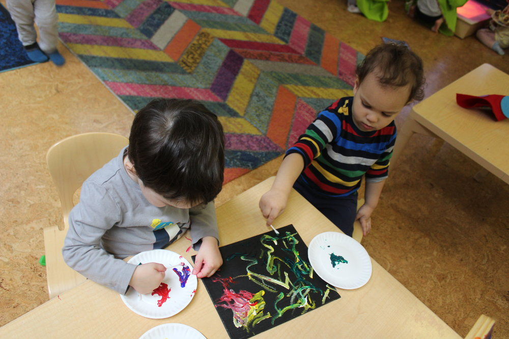 Painting with q-tips allows children to create distinctive lines on their art piece. It also promotes a different grip as they maneuver the q-tip.