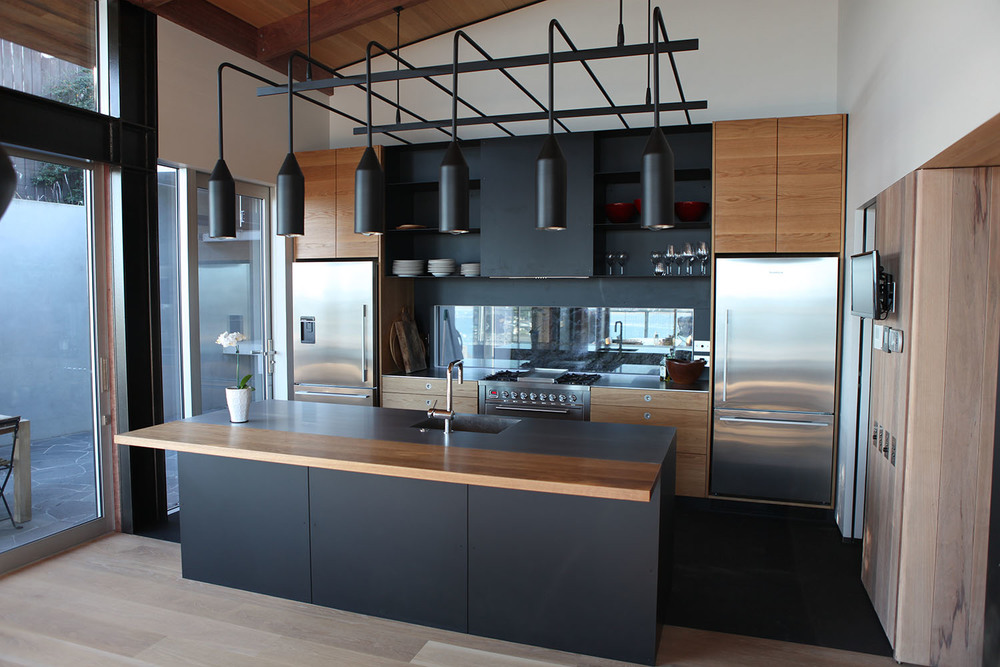 American Oak, Blackened Steel and Stainless and Oak Benchtops