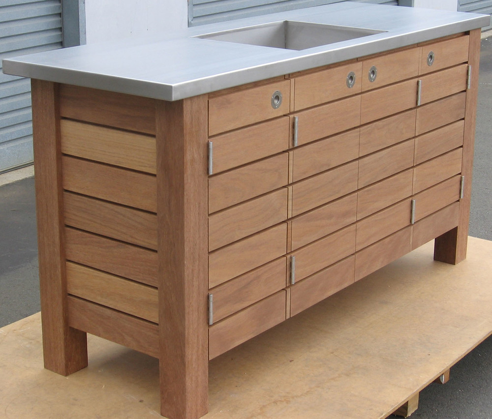 Teak outdoor fish filleting bench