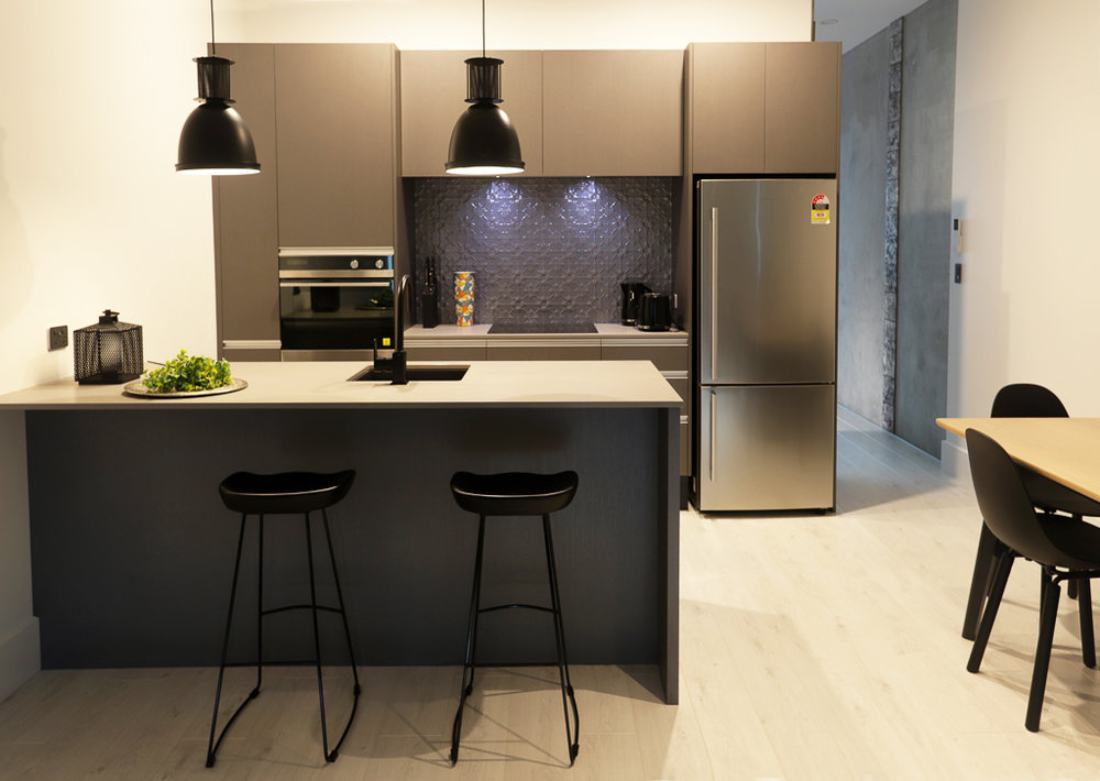Industrial style apartment kitchen