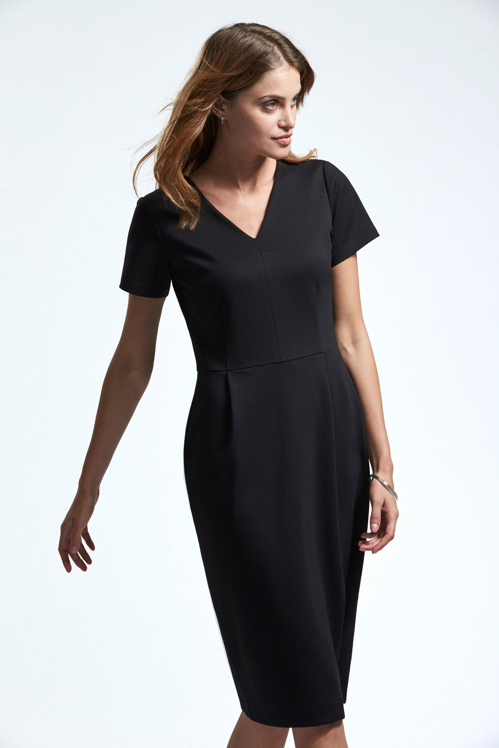 health care age care uniform black ponte dress