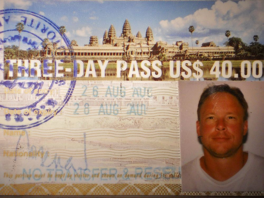 My entry pass into Angkor Archaeological Park, Siem Reap, Cambodia (August 2002).