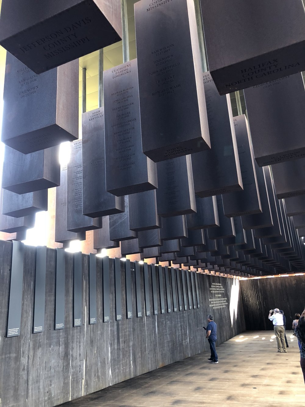 Inside The National Memorial for Peace and Justice in Montgomery, AL.