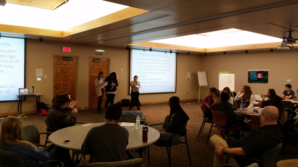 SWAT HS leaders, Molly Mannila, Ashleigh Jaramillo, and Jessica presenting at the HS Leadership Institute. October 14, 2015.